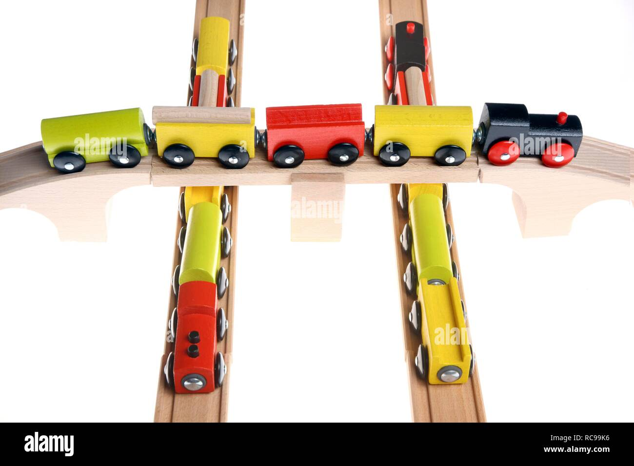 Train Crossing Wooden Bridge Stock Photos & Train Crossing