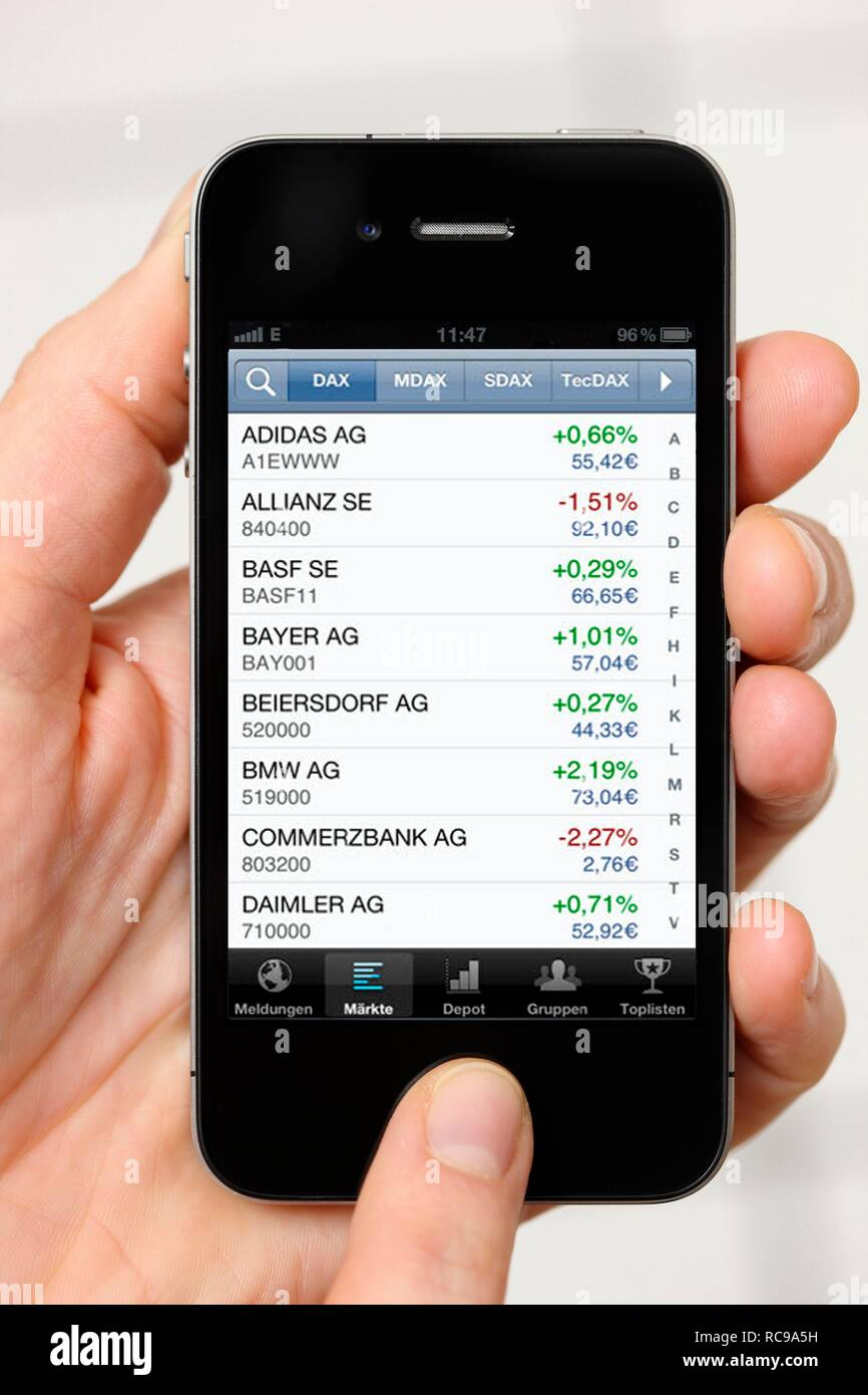 Iphone, smart phone, information on stock prices, app on the screen Stock Photo