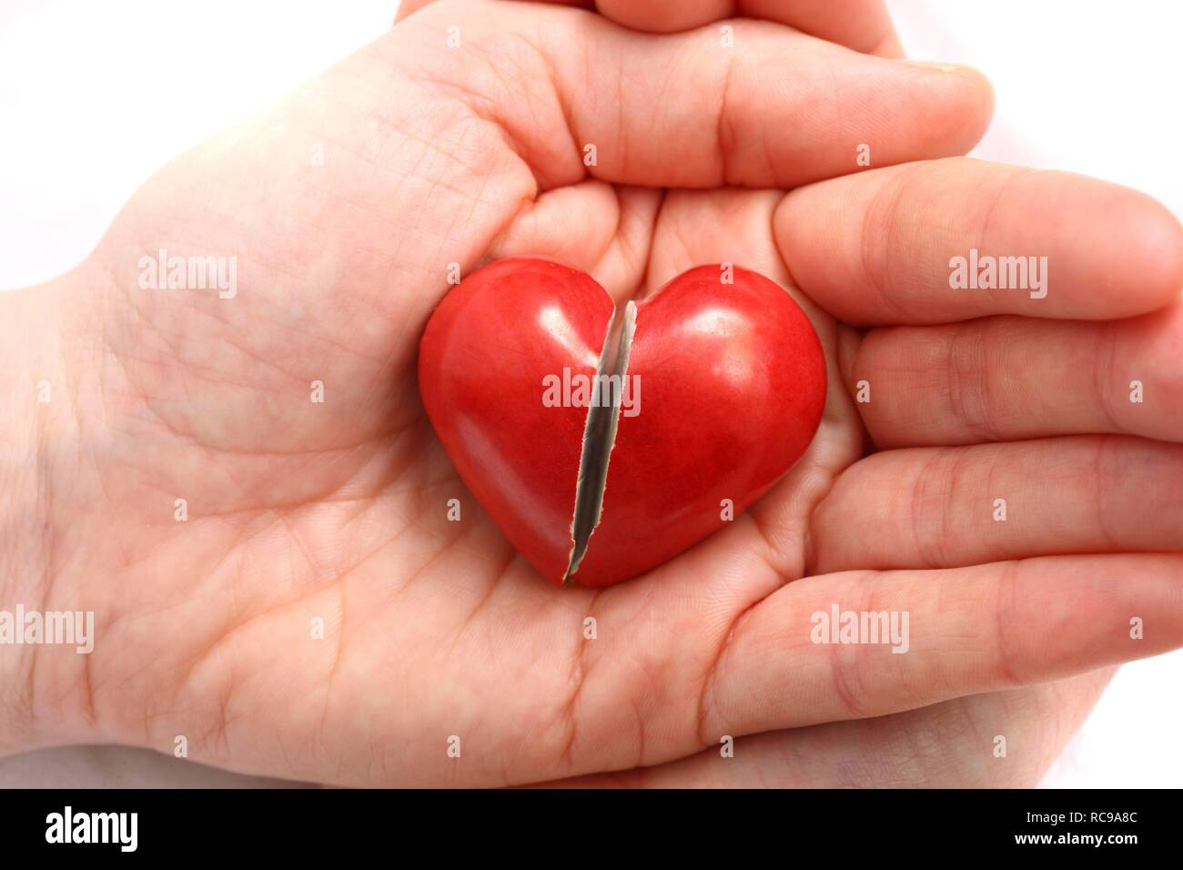 Hand holding a broken heart, symbolic image for heart disease, heart attack, a diseased heart, cardiology or heartache - Stock Image