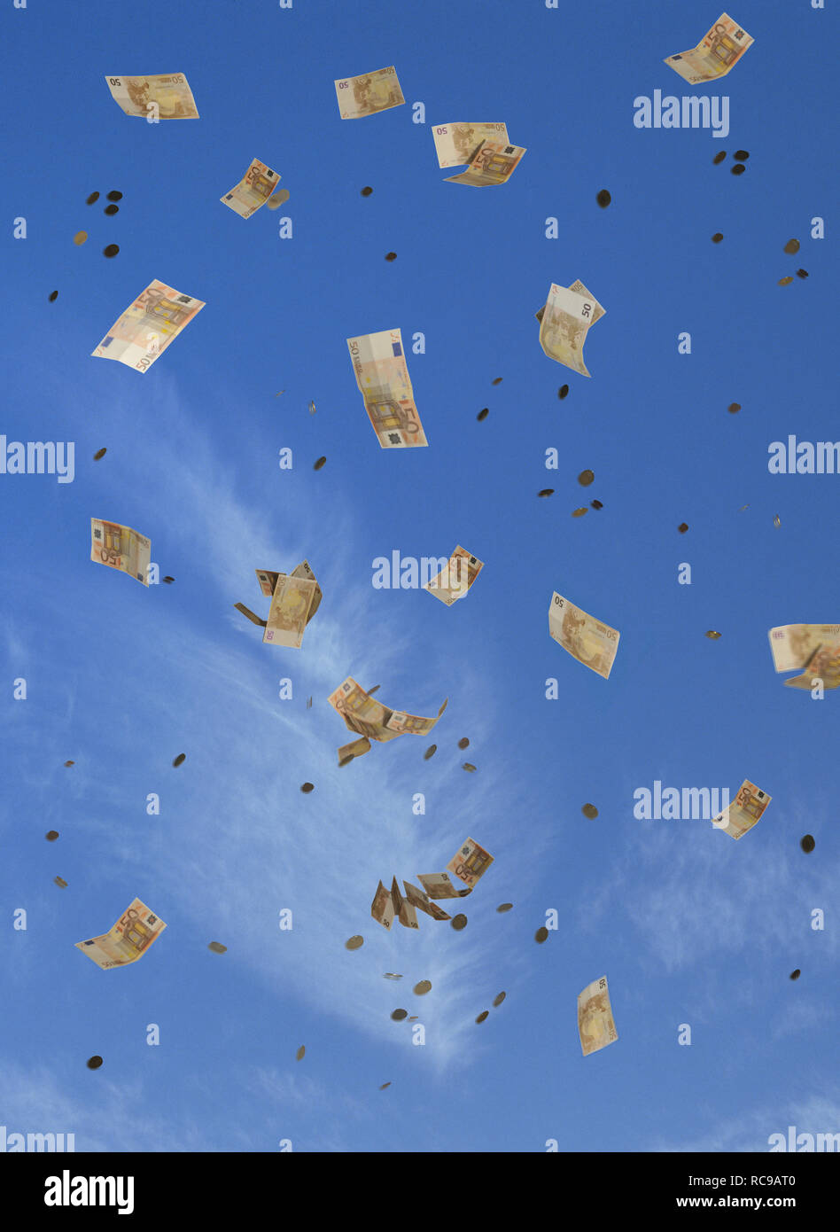 Geldregen | money rain Stock Photo