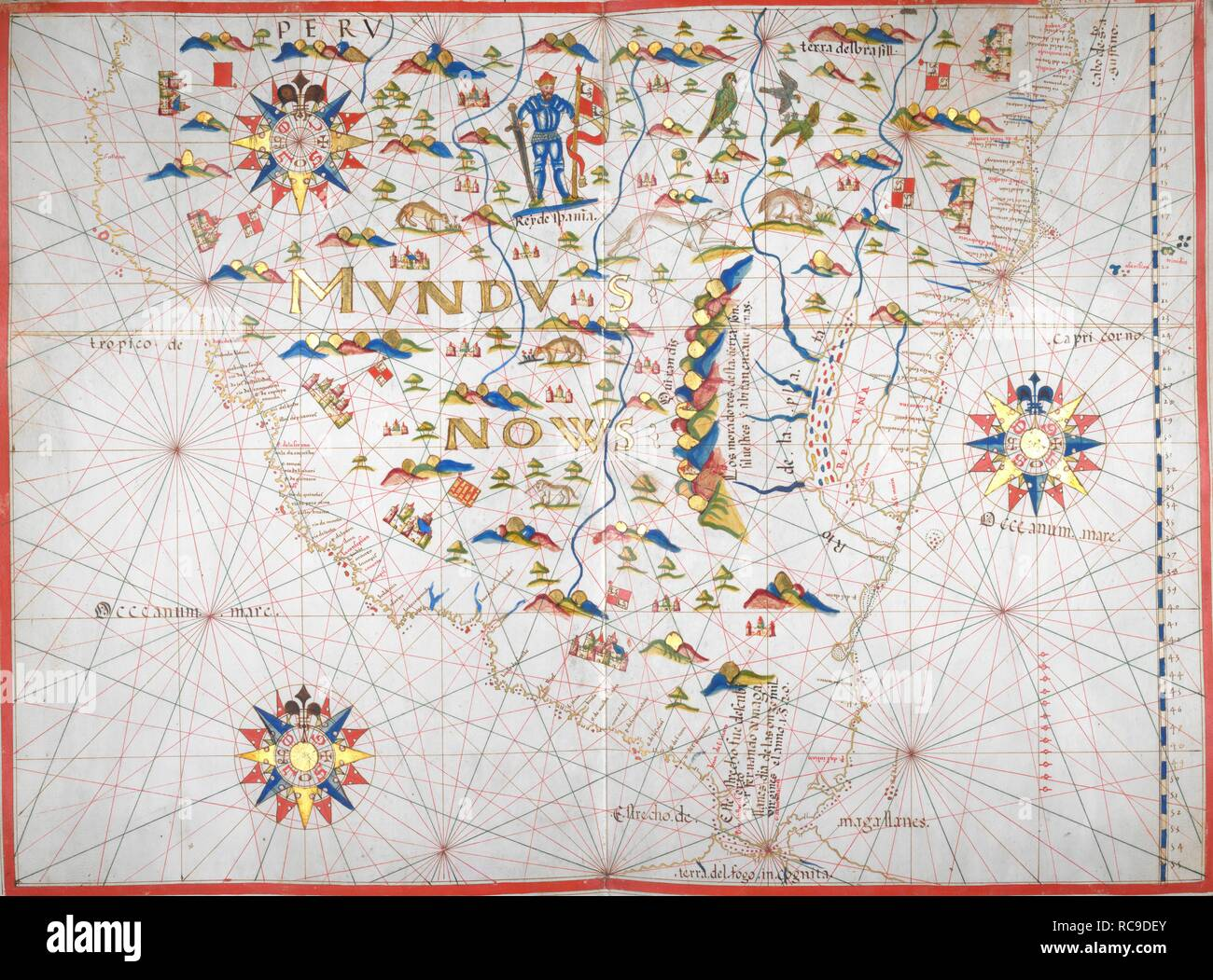 South Coast Of Spain Map.Southern Coast Of South America Portolano Spain Before 1600
