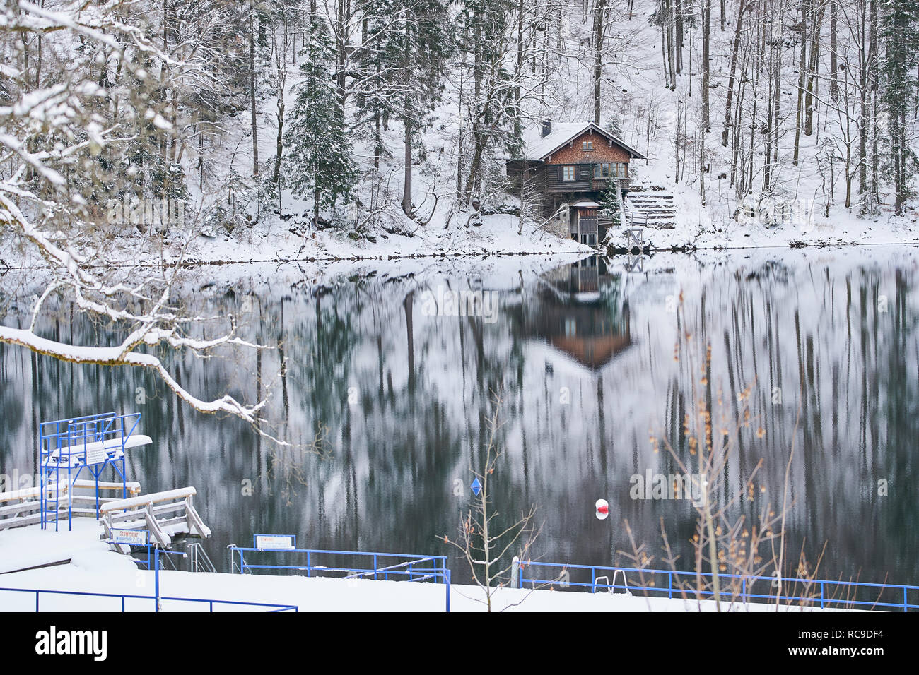 Springboard at Freiberg See in cold weather up to minus 14 degree, frozen tree and a sunny landscape is seen in the morning in Oberstdorf, Bavaria Ger - Stock Image
