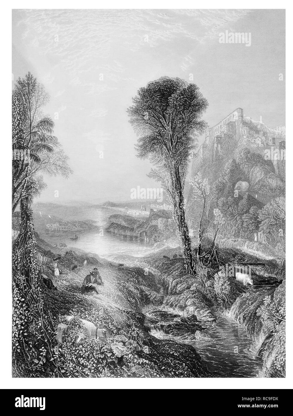 J.M.W Turner Mercury and Argus engraved by J.T. Willmore - Stock Image