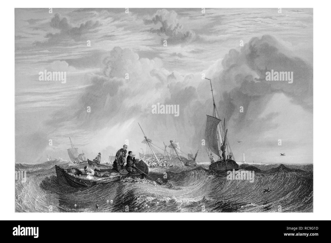 J.M.W Turner Orange merchantman going to pieces engraved by R. Wallis - Stock Image