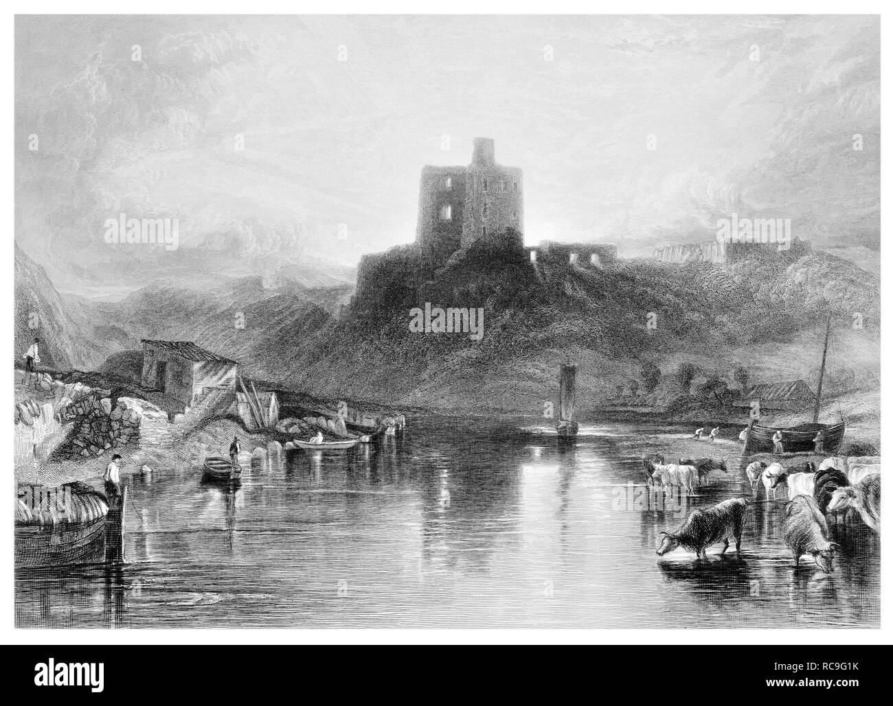 J.M.W Turner Norham Castle engraved by W. Chapman - Stock Image