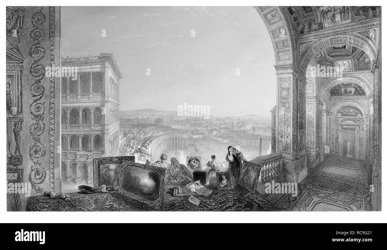 J.M.W Turner Rome from the Vatican engraved by A. Willmore - Stock Image