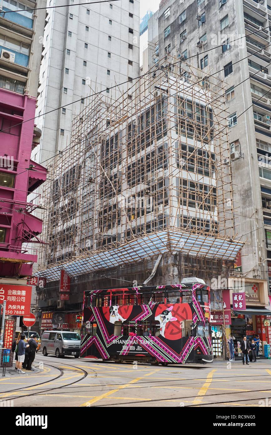 Hong Kong Corner Building Under Construction - Stock Image