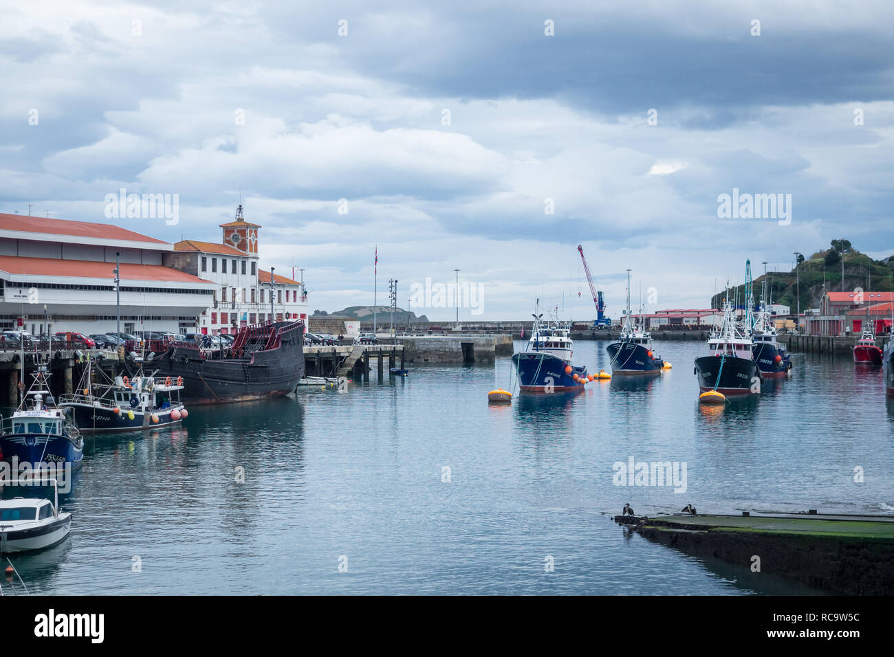 fishing boats in town of Bermeo located at basque country; Spain Euskadi - Stock Image