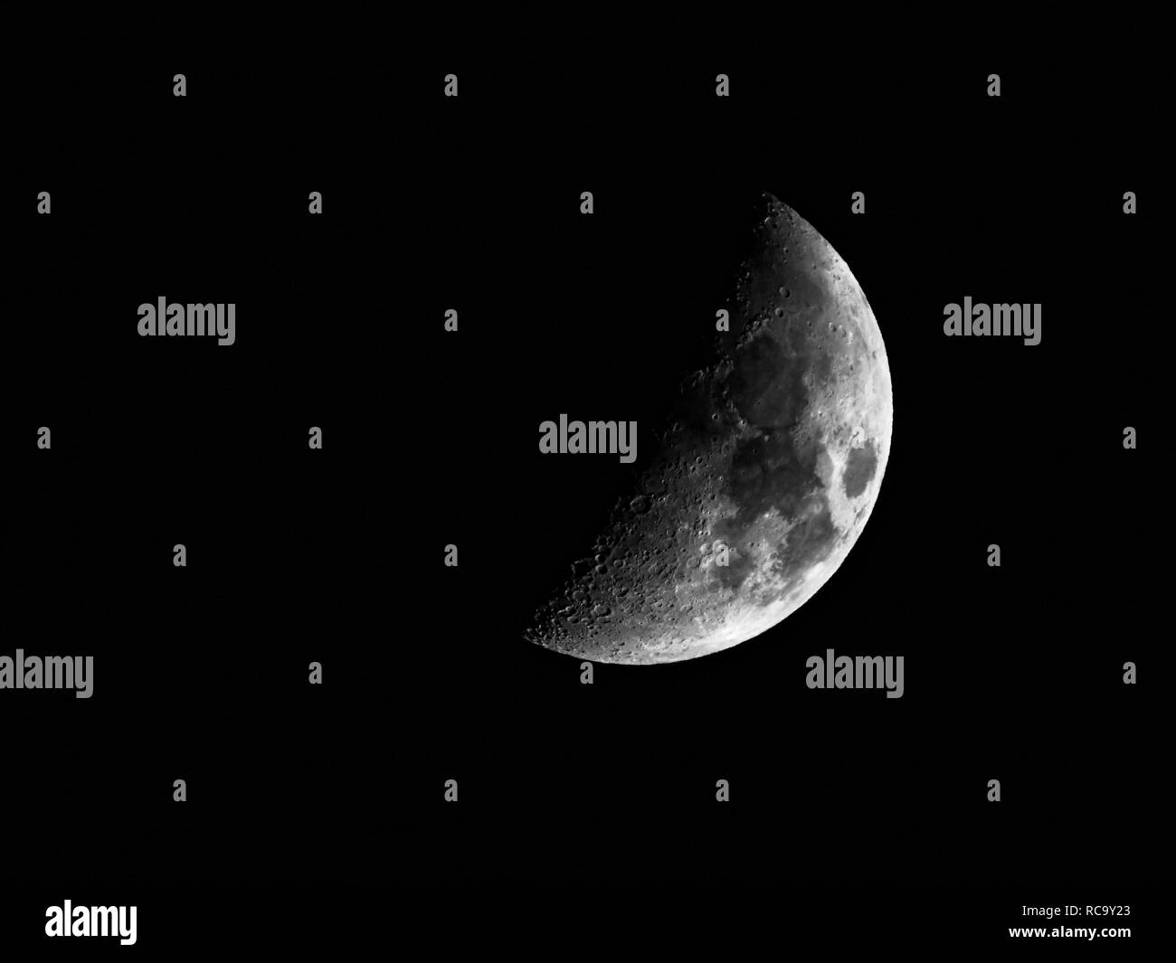 Crescent moon at night - Stock Image