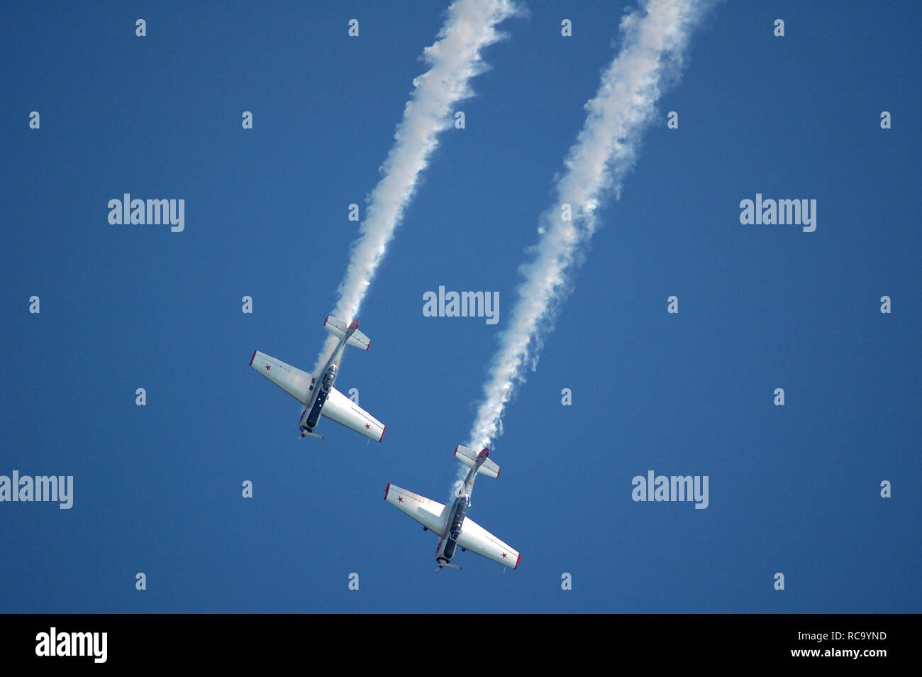 Yakovlevs Aerobatic Display team at Lifeboat Launch Day, Selsey. - Stock Image