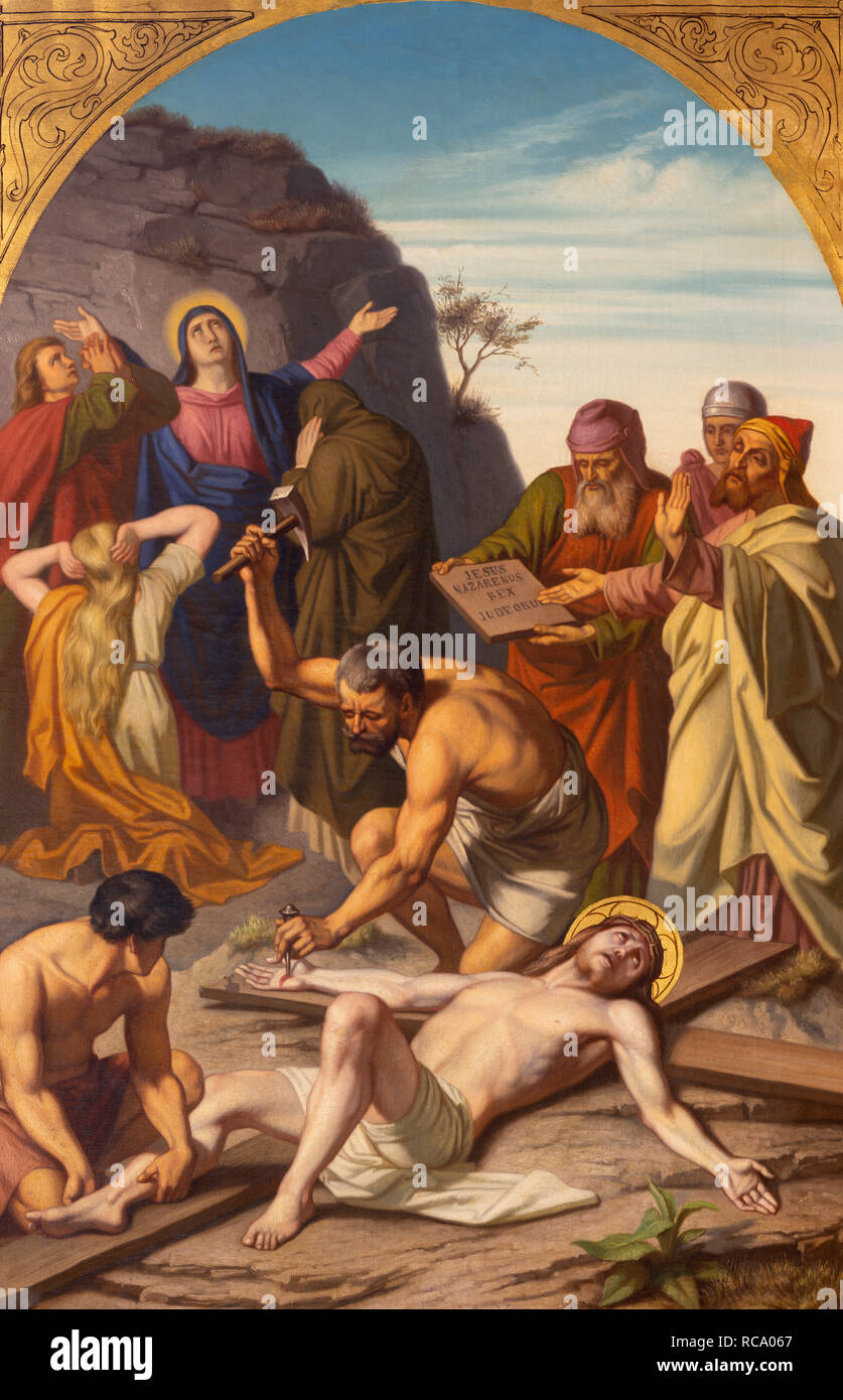 PRAGUE, CZECH REPUBLIC - OCTOBER 15, 2018: The painting Jesus is nailed to the cross (cross way station) in church Bazilika svatého Petra a Pavla Stock Photo