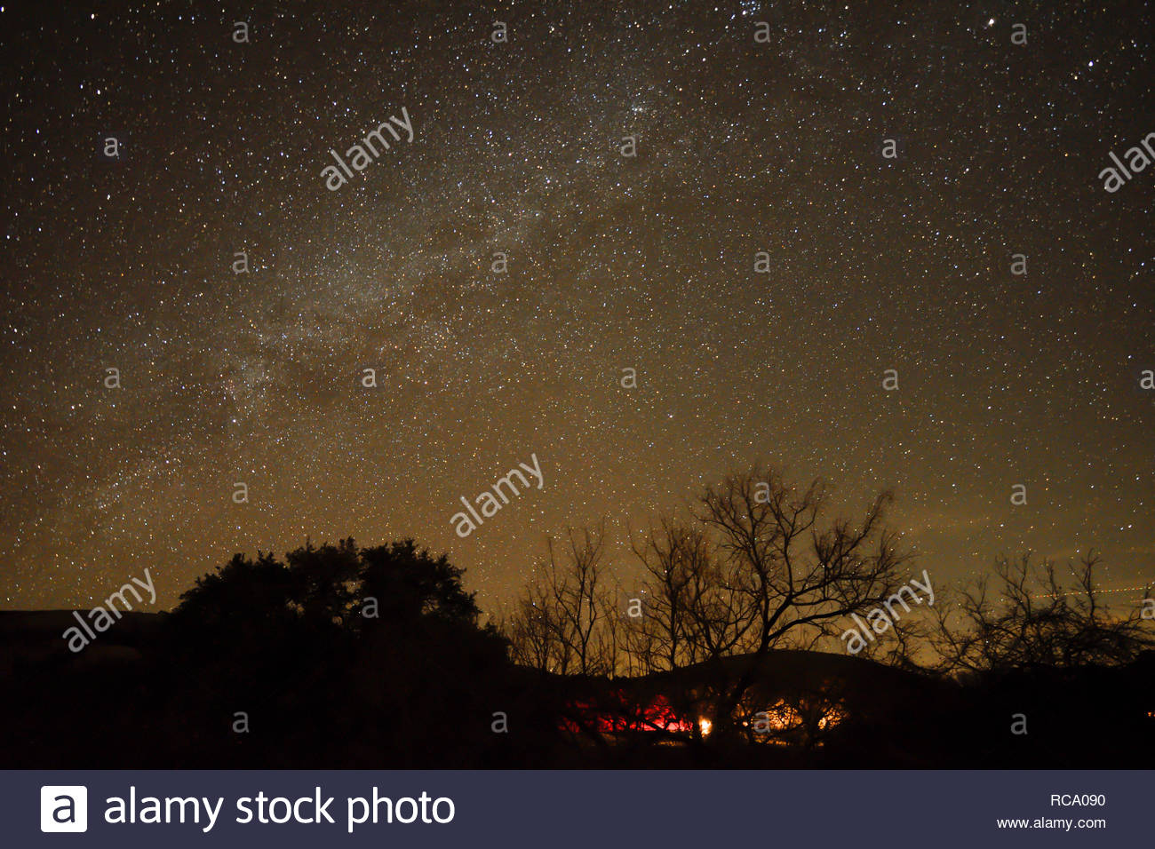 Milky Way over Enchanted Rock in the Texas Hill Country. Milky Way in the Texas Hill Country at Enchanted Rock State Park. Stars over Texas. Dark sky - Stock Image