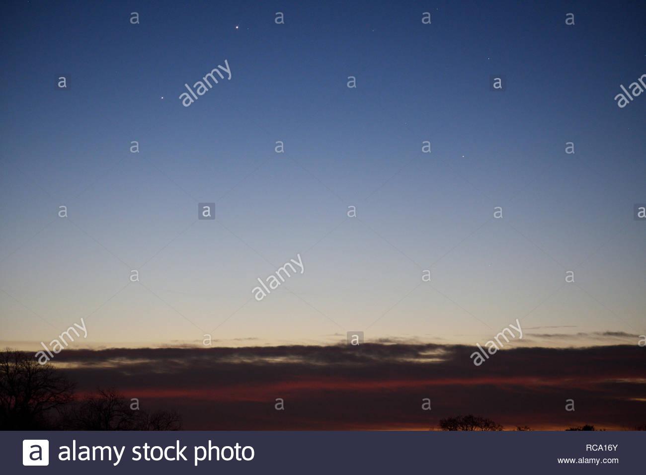 Jupiter and Mercury at sunrise. Morning Planets. Planet Mercury and Planet Jupiter. Jupiter and Mercury Conjunction. Planet Conjunction. Two planets. - Stock Image