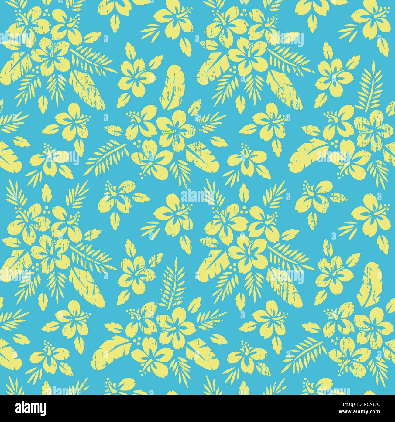 Monochrome Yellow Bold Exotic Foliage, Hibiscus Flowers Vector Seamless Pattern. Oversize Bright Lush Tropical Banana Palm Leaves and Blooms on Blue B - Stock Vector
