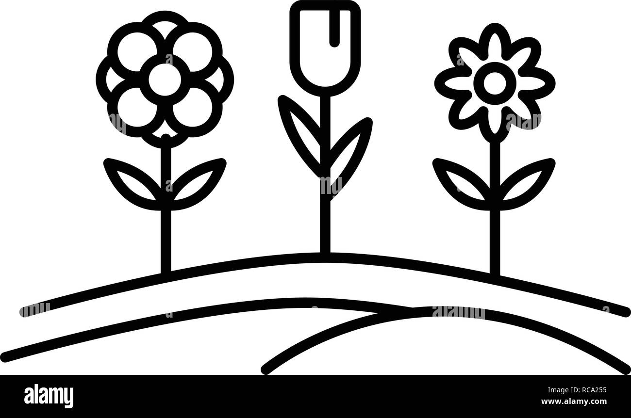 Pension flower garden icon, outline style - Stock Image
