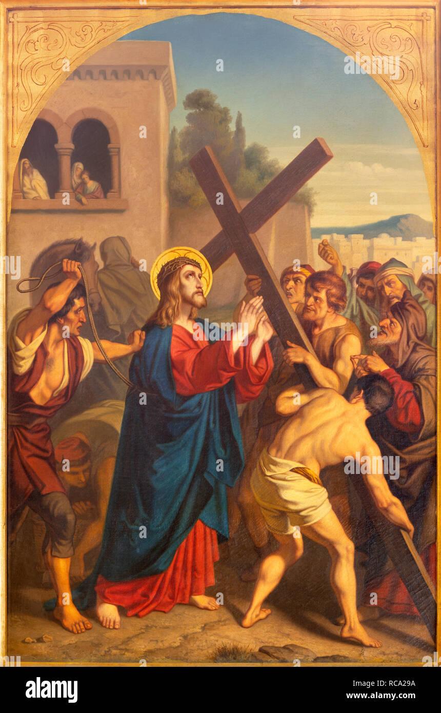 PRAGUE, CZECH REPUBLIC - OCTOBER 15, 2018: The painting Jesus caries his cross in church Bazilika svatého Petra a Pavla na Vyšehrade Stock Photo