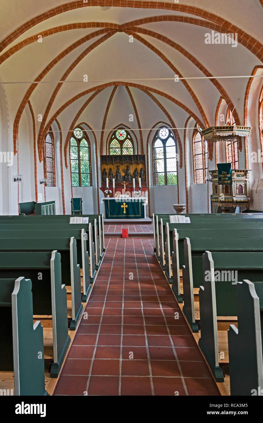 Raven (Lower saxony, Germany): St. Martin church; Raven in der Lüneburger Heide: St. Martin Kirche - Stock Image