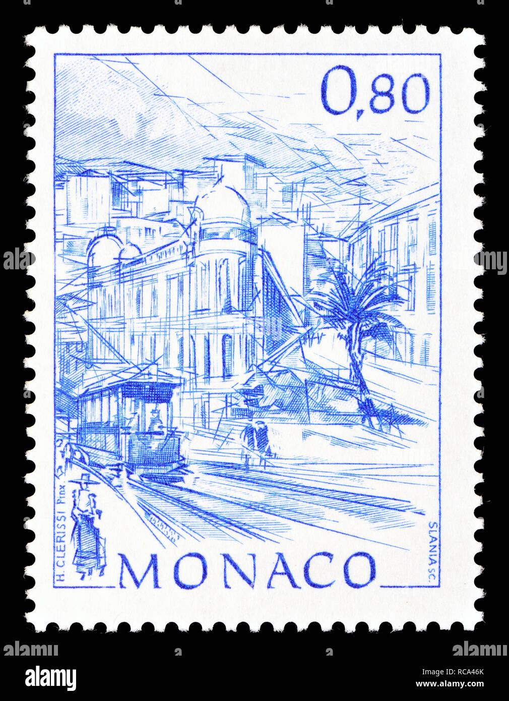 Monaco postage stamp (1991): Early Views of Monaco definitive series: Avenue du Beau Rivage Stock Photo