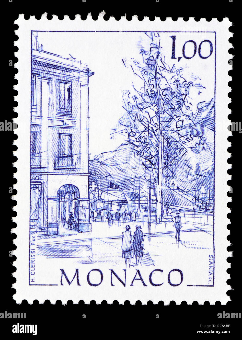 Monaco postage stamp (1991): Early Views of Monaco definitive series: Place d'Armes Stock Photo