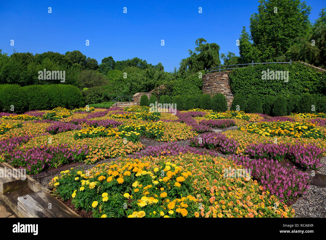 Patterned Quilt Garden in Asheville North Carolina - Stock Image