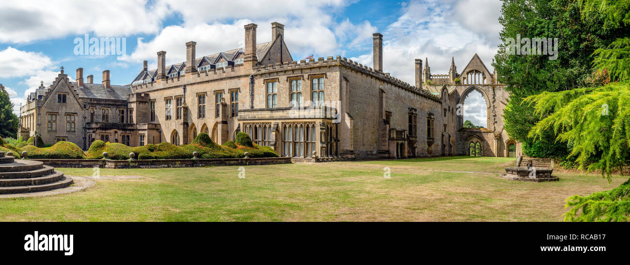 Wide panorama of Newstead Abbey in Nottinghamshire, England, UK.  Also a late home of famous English romantic poet, Lord Byron in the 19th century. - Stock Image