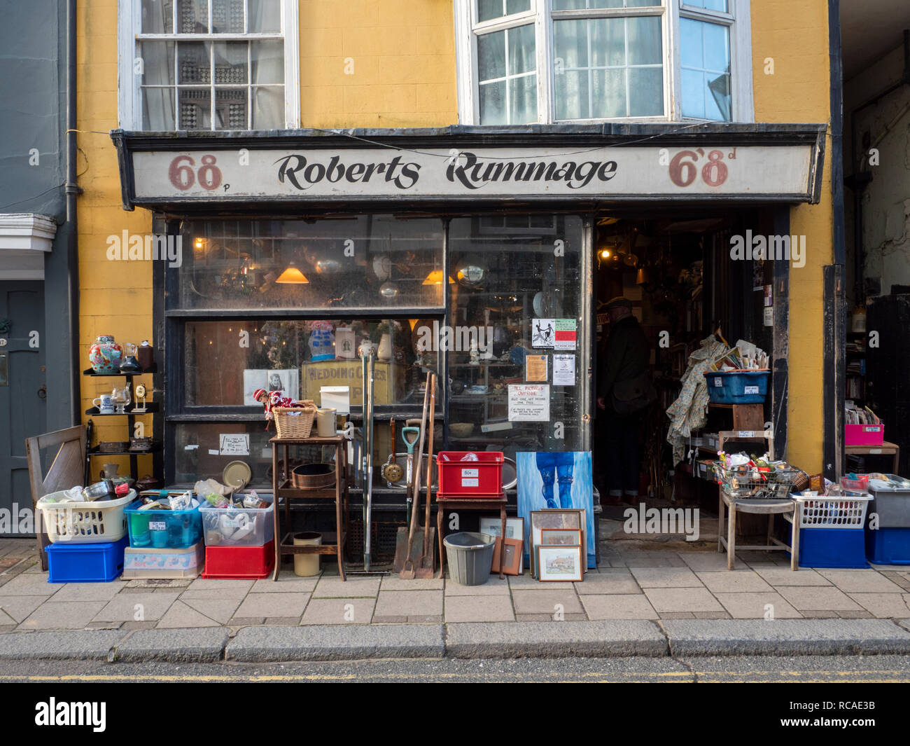 Roberts Rummage secondhand shop in old hastings Town East Sussex UK - Stock Image