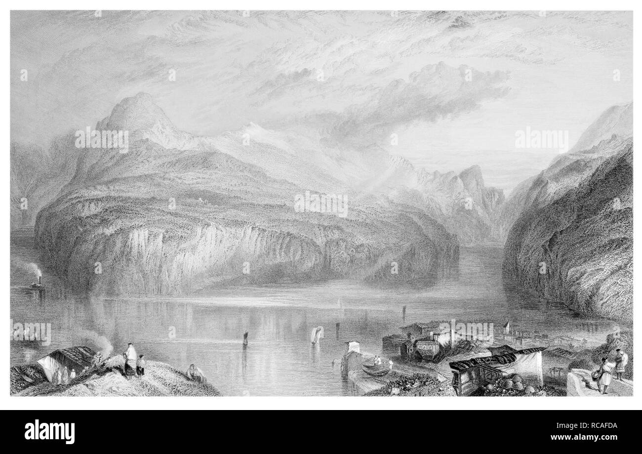 J.M.W Turner The Lake of Lucerne engraved by R. Wallis - Stock Image