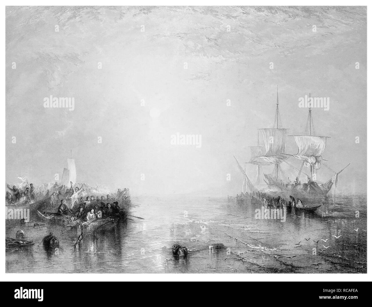 J.M.W Turner Whalers engraved by R Brandard - Stock Image