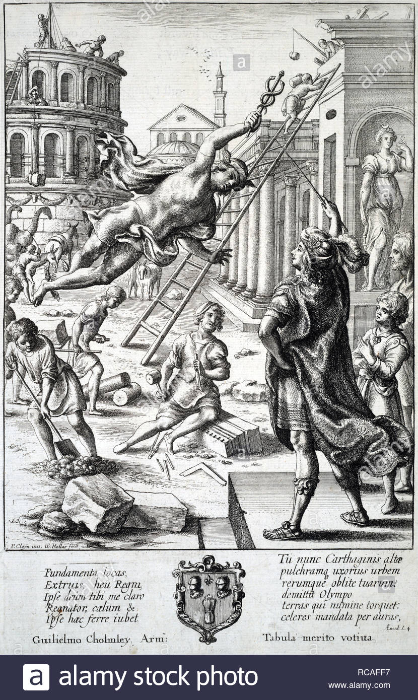 Mercury and Aeneas, etching by Bohemian etcher Wenceslaus Hollar from 1600s - Stock Image