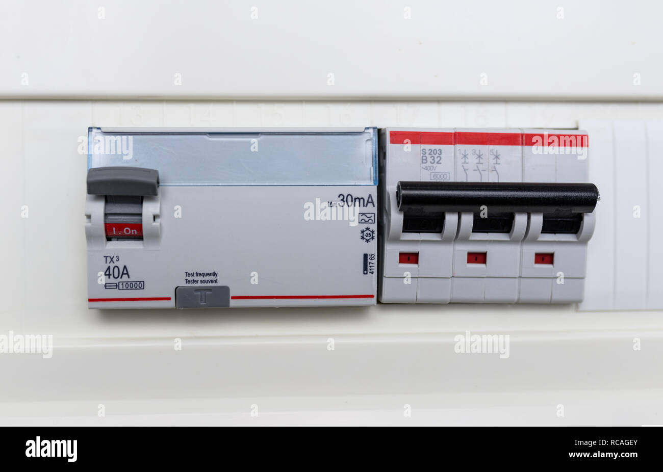 automatic circuit breakers in a fuse box  power control panel  - stock image
