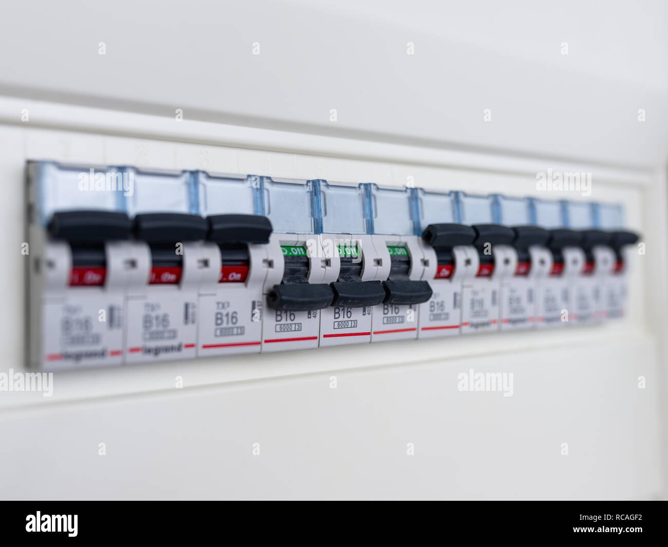 Switches in electrical fuse box. Many black circuit breakers ... on fuse adapters, fuse cover, fuse tool, relay box, contactor box, circuit breaker box,