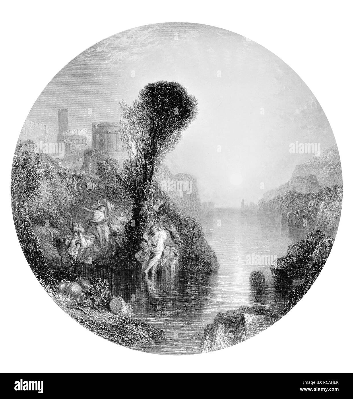 J.M.W Turner Bacchus and Ariadne engraved by C.Cousen - Stock Image