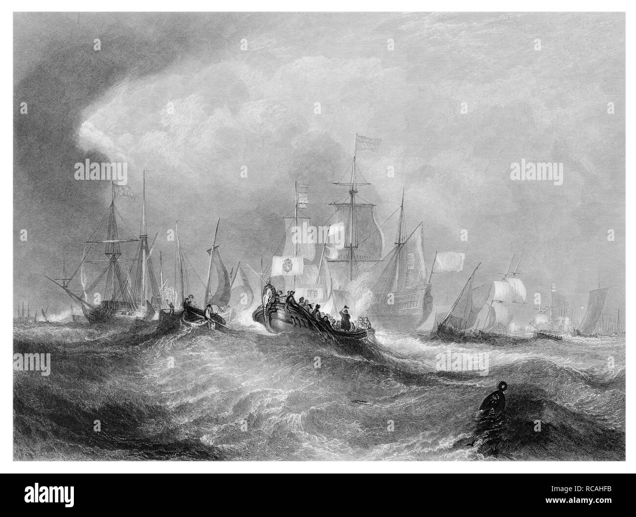 J.M.W Turner The Prince of Orange landing at Torbay engraved by  W.Miller - Stock Image
