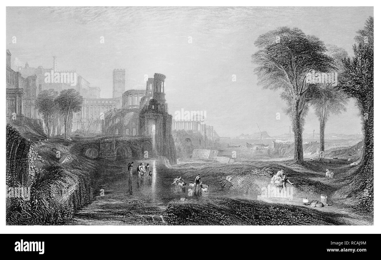 J.M.W Turner Caligula's palace and bridge engraved by E. Goodall - Stock Image