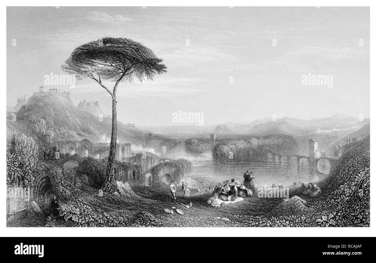 J.M.W Turner Childe Harold's Pilgrimage Italy engraved by J.T.Willmore - Stock Image