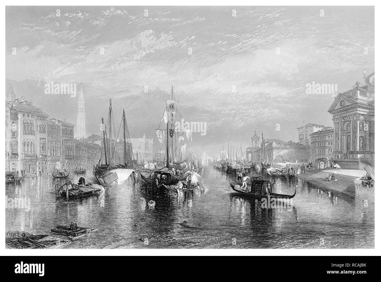 J.M.W Turner The Grand Canal Venice engraved by R Brandard - Stock Image