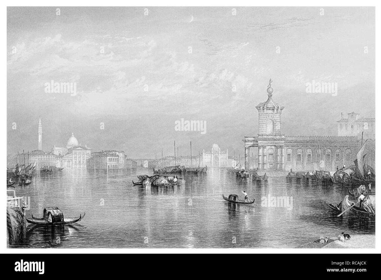 J.M.W Turner Venice The Dogan engraved by J.T.Willmore - Stock Image