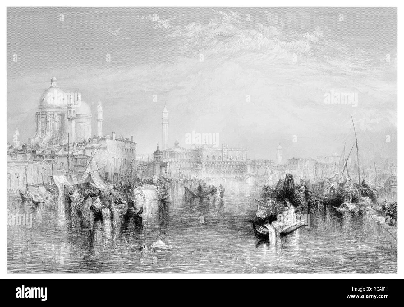 J.M.W Turner Venice from the canal of the Guidecca engraved by R Brandard - Stock Image