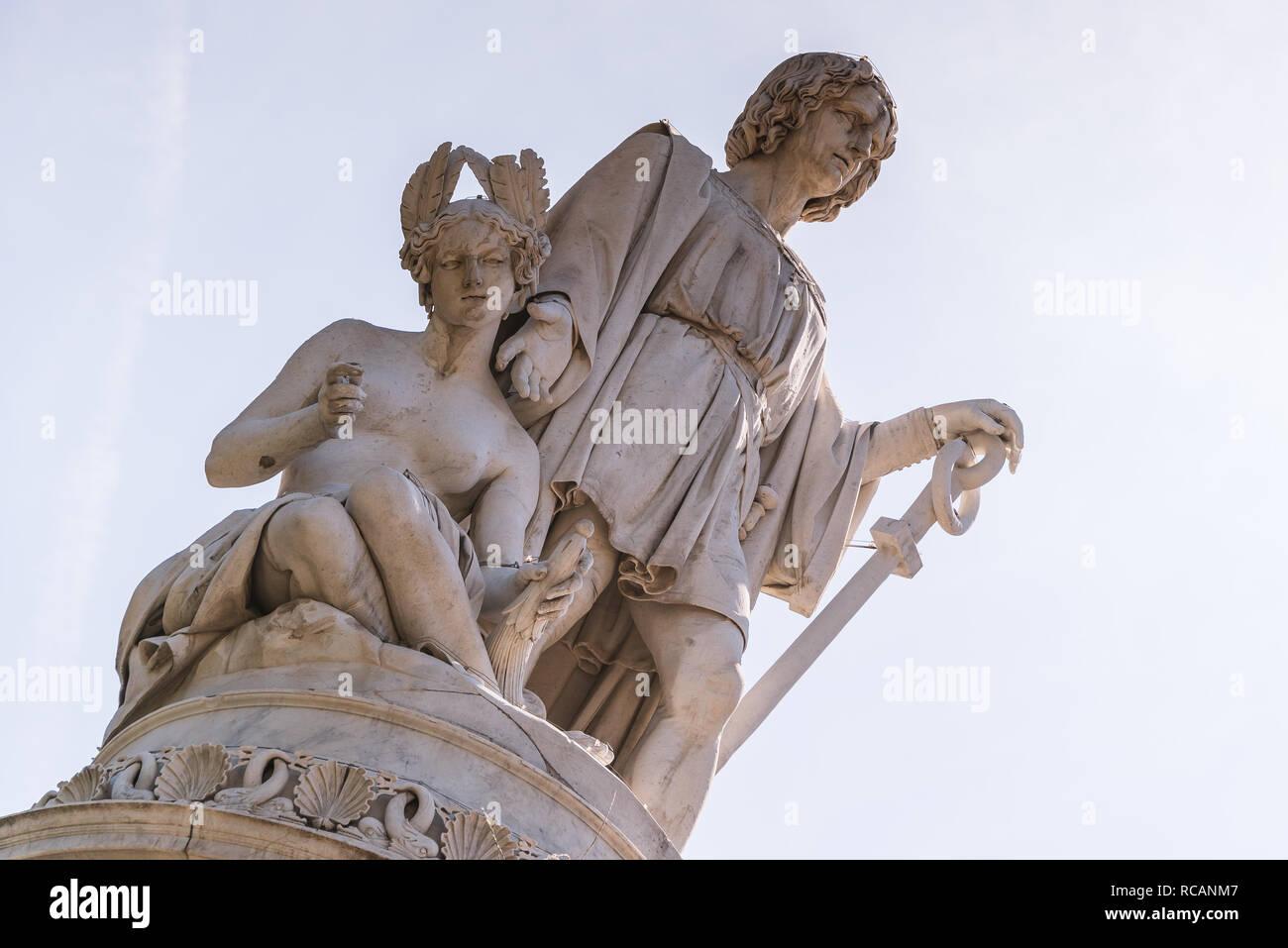 Christopher Columbus Monument on Piazza Acquaverde - details.  Genoa, Genova, Italy, Europe - Stock Image