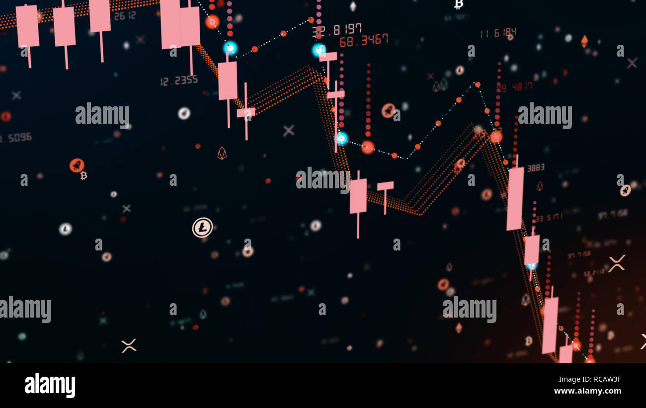 Futuristic digital business cryptocurrency candle chart fall. 3D illustration of financial diagram falls on bearish market, showing recession or finan - Stock Image