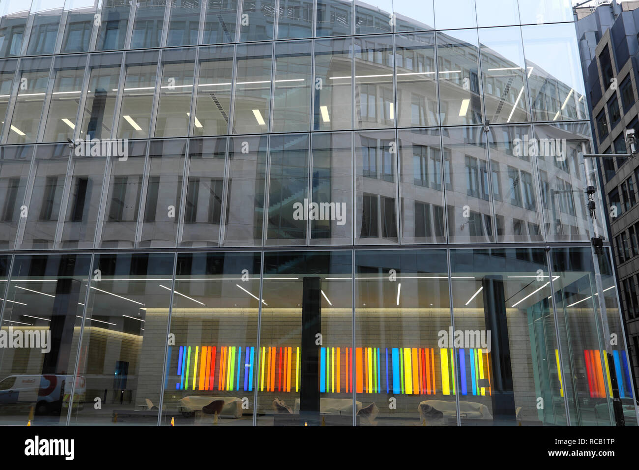 One Bartholomew Close new Barts Hospital building exterior facade at Little Britain with colourful neon artwork City of London UK  KATHY DEWITT - Stock Image