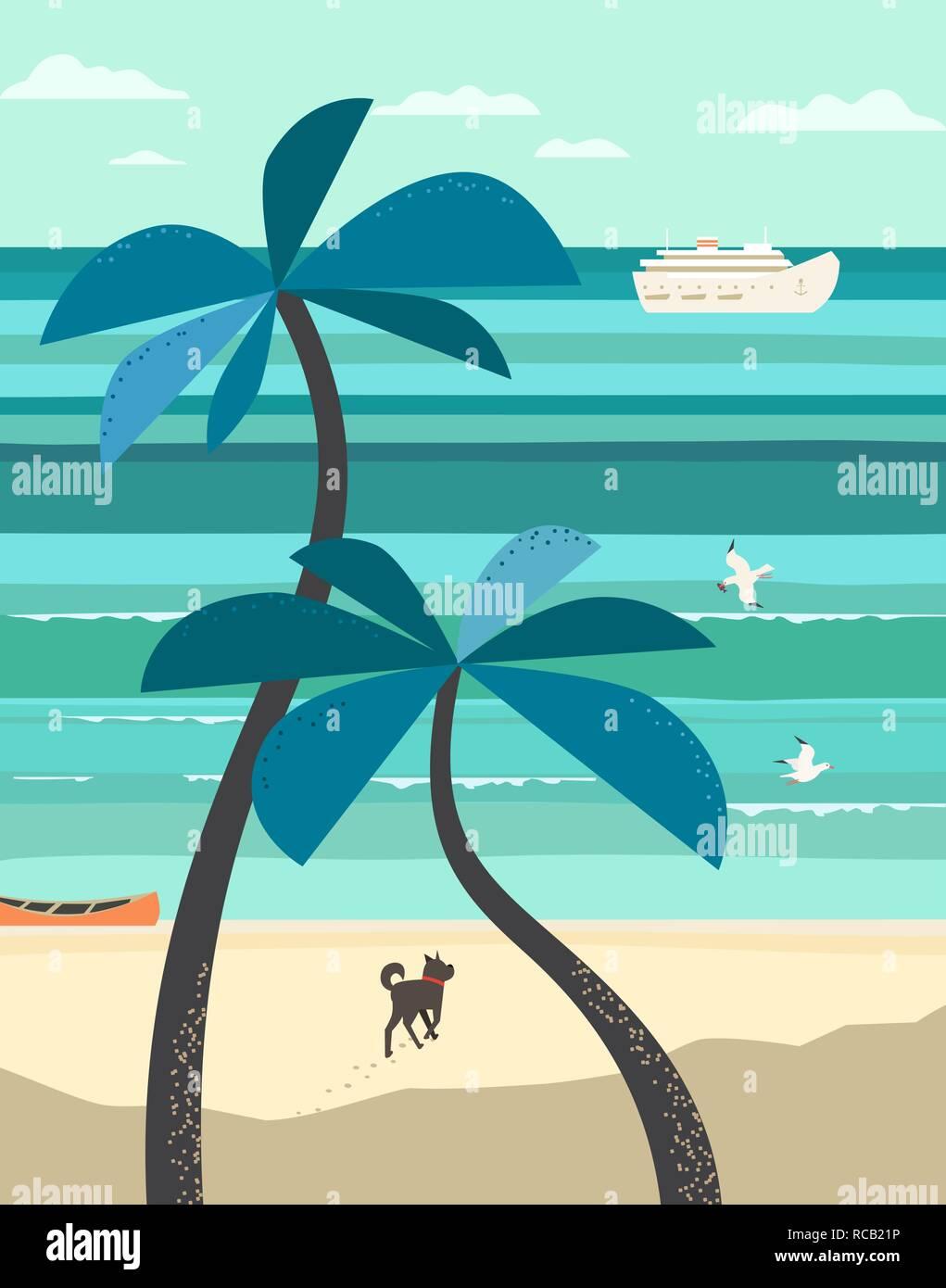 Seaside scenic veiw poster - Stock Vector