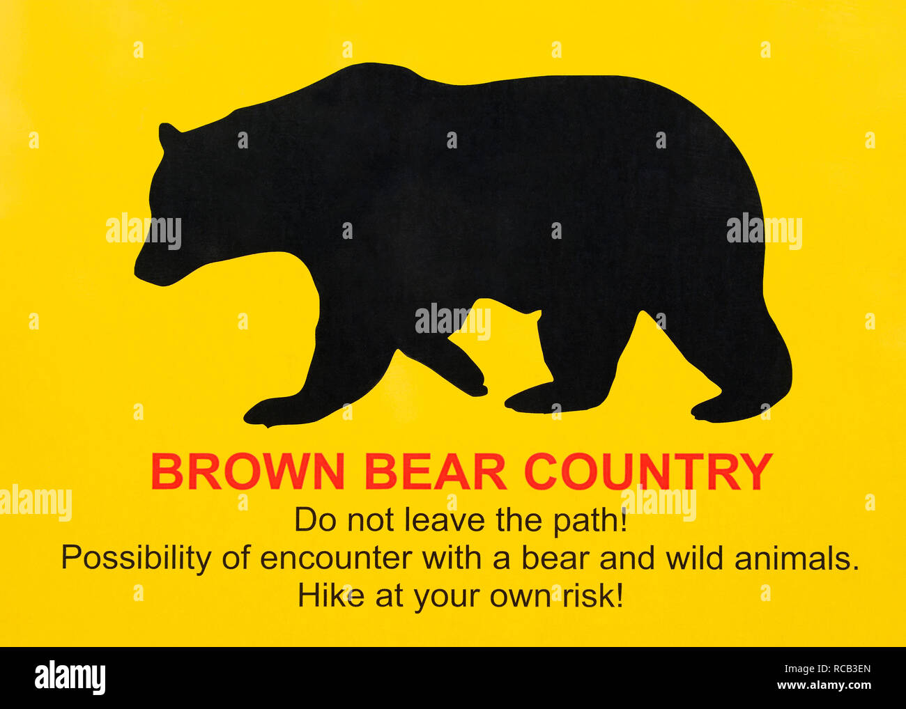 Bear Warning Sign, Close Up - Stock Image