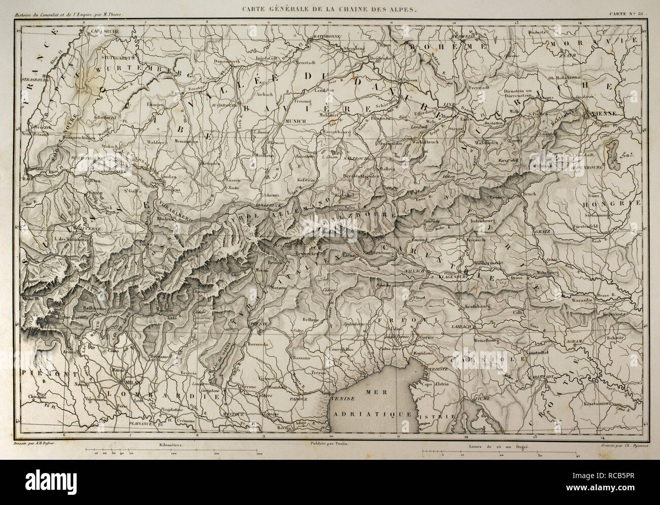 Map of mountain range of the Alps. Atlas de l\'Histoire du Consulat ...