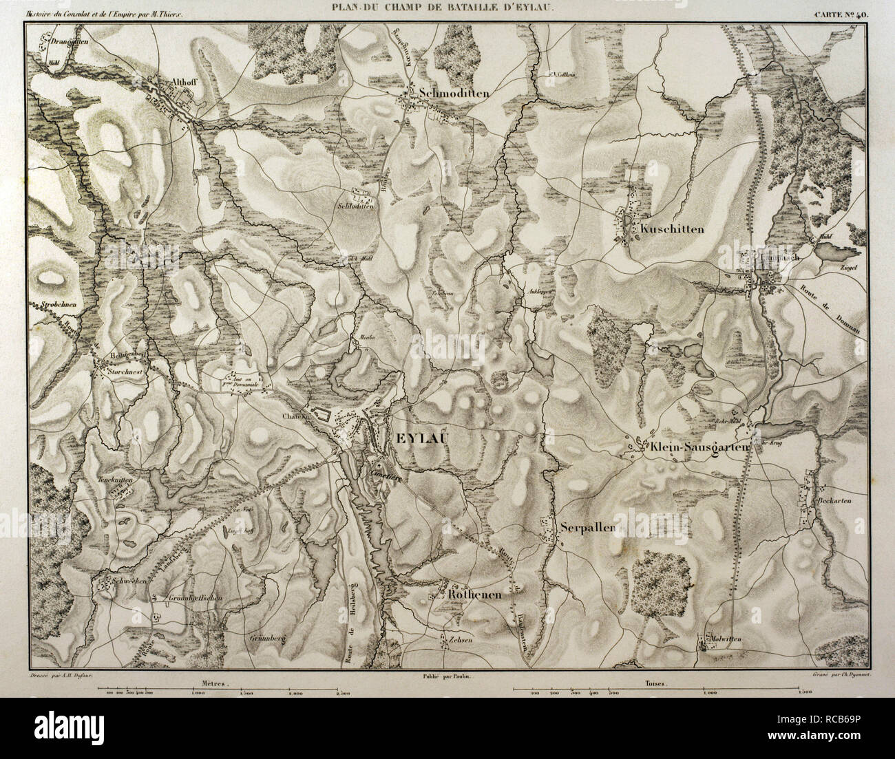 Map of battlefield of Eylau  (ancient Prussian now Russia). 7th and 8 th February 1807. Belligerents: French Empire and Russian Empire. It was a part of the War of the Fourth Coalition, in the context of Napoleonic Wars. Atlas de l'Histoire du Consulat et de l'Empire. History of the Consulate and the Empire of France under Napoleon by Marie Joseph Louis Adolphe Thiers (1797-1877). Drawings by Dufour, engravings by Dyonnet. Edited in Paris, 1864. - Stock Image