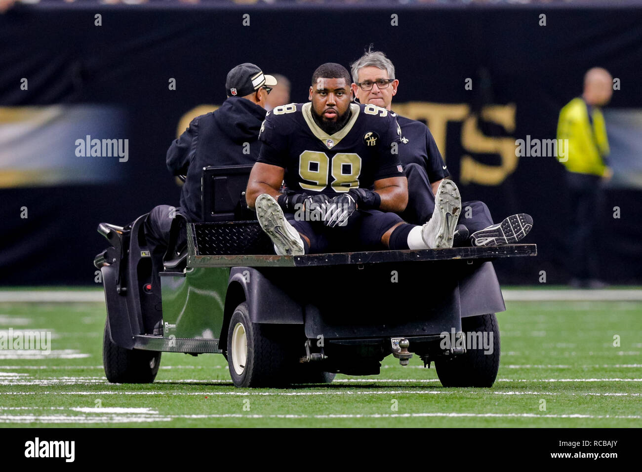 New Orleans, LA, USA. 13th Jan, 2019. New Orleans Saints defensive tackle Sheldon Rankins (98) is carted off the field with a torn achilles against Philadelphia Eagles at the Mercedes-Benz Superdome in New Orleans, LA. Stephen Lew/CSM/Alamy Live News - Stock Image