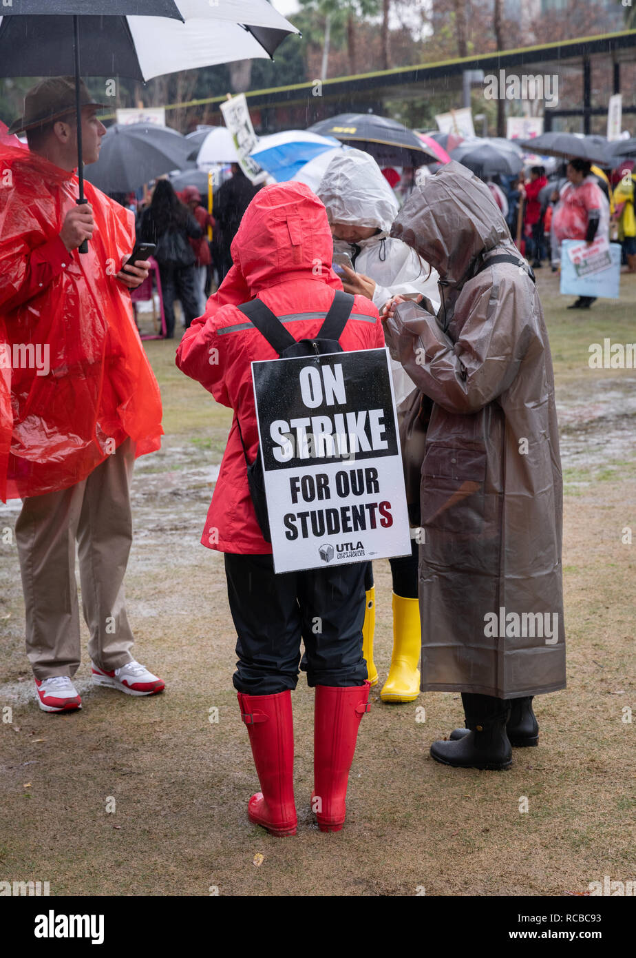 Los Angeles, USA. 14th Jan 2019. Teachers strike rally in Downtown Los Angeles, California, on January 14th, 2019. Credit: Jim Newberry/Alamy Live News - Stock Image