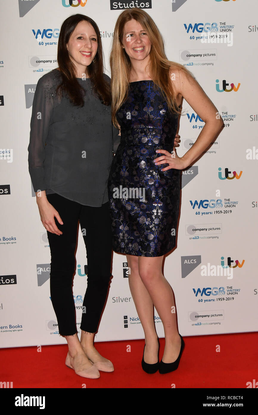 London, UK. 14th Jan, 2019. Anna McCleery and Vicki Lutas attends 2019 Writers' Guild Awards at Royal College of Physicians on 14 January 2019, London, UK Credit: Picture Capital/Alamy Live News - Stock Image