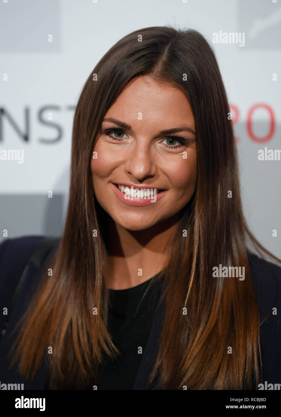Frankfurt, Germany. 15 January 2019, Television presenter Laura Wontorra comes to the New Year's reception of the German Football League (DFL). Photo: Arne Dedert/dpa Credit: dpa picture alliance/Alamy Live News - Stock Image