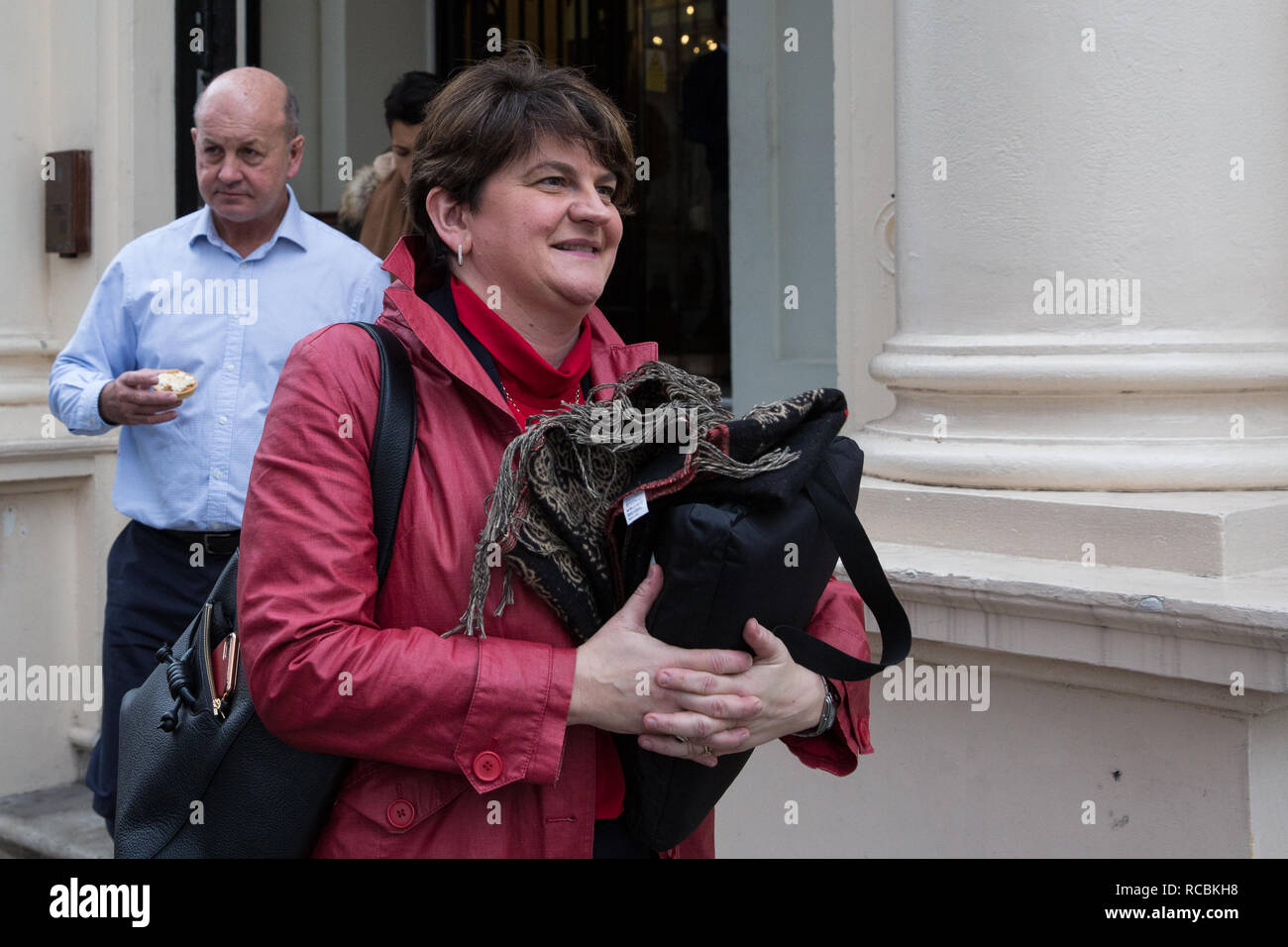London, UK. 15th Jan, 2019. Arlene Foster, Leader of the Democratic Unionist Party (DUP), leaves the British Academy after speaking at the launch of the 'A Better Deal' pamphlet with David Davis MP, Dominic Raab MP and Lord Lilley. The pamphlet sets out proposals for an alternative EU withdrawal agreement. Credit: Mark Kerrison/Alamy Live News - Stock Image